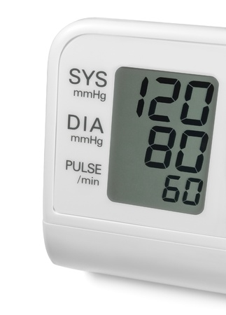 Digital blood pressure wrist tonometer monitor display screen showing ideal optimum 120 80 60 systolic diastolic pulse, isolated macro closeup photo