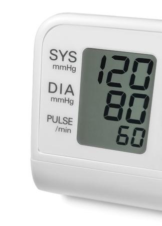 Digitale bloeddruk pols tonometer monitor scherm met ideale optimale 120 80 60 systolische diastolische pols, geïsoleerde macro close-up Stockfoto