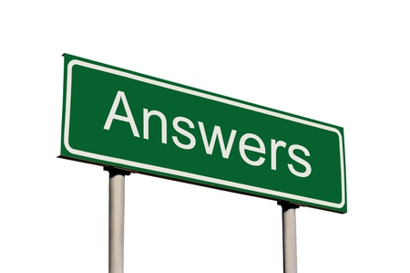 answers highway: Green Road Sign, Answers Text Concept, Isolated Roadside Signboard Signage