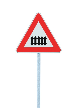 Level crossing with barrier or gate ahead road sign, isolated signpost and traffic signage Stock Photo - 12194497