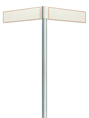 Direction road signs, two empty blank signpost signages, isolated directional roadside guidepost pointer white copy space, beige frame, light grey pole post photo