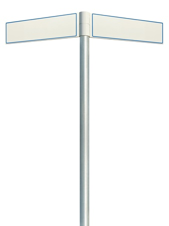 Direction road signs, two empty blank signpost signages, isolated directional roadside guidepost pointer white copy space, blue frame, light grey pole post photo