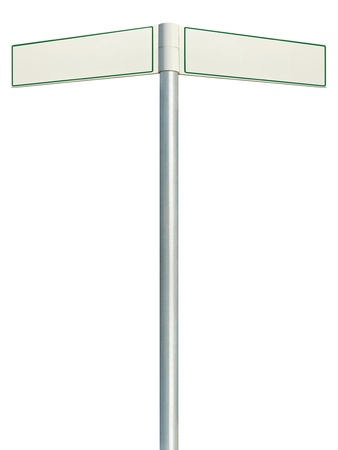 Direction road signs, two empty blank signpost signages, isolated directional roadside guidepost pointer white copy space, green frame, light grey pole post photo