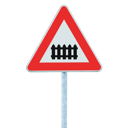 Level crossing with barrier or gate ahead road sign, isolated signpost and traffic signage Stock Photo - 12713350
