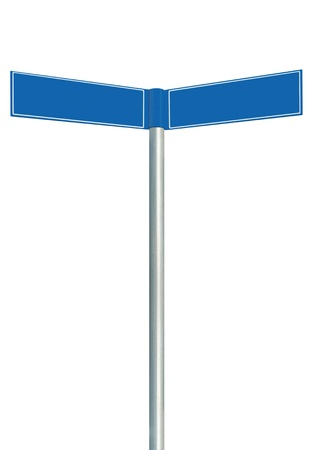 Blue direction road signs, two empty blank signpost signages, isolated directional roadside guidepost pointer copy space, white frame, light grey pole post photo
