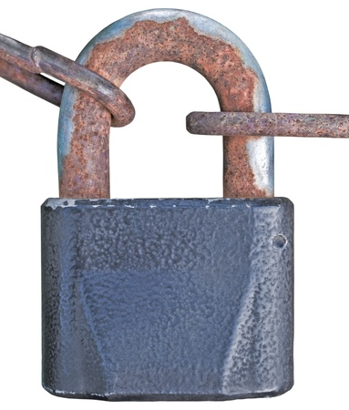 Old aged padlock and rusty chain, isolated macro closeup photo