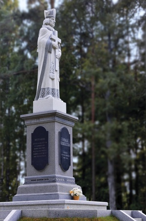 erected: Ikshkile, Latvia, The Baltics - July 5, 2011 : Sculpture of St. Meinard, First Bishop of Livonia (1186 - 1196), Sculptor Victor Sushkevich, Memorial Monument Erected in 2010