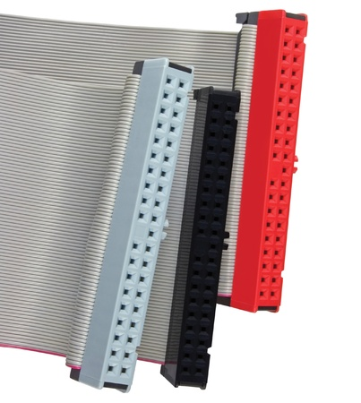 ide: IDE connectors and ribbon cables for hard drive on PC computer, isolated, red, grey, black, macro closeup Stock Photo