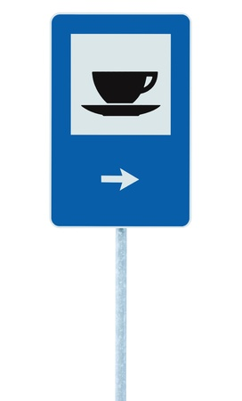 blue signage: Restaurant road sign on post pole, traffic roadsign, blue isolated bistro dinner bar cafe cafeteria catering coffee tea cup service signage right hand pointing direction arrow Stock Photo