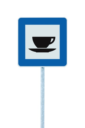roadsign: Restaurant road sign on post pole, traffic roadsign, blue isolated bistro dinner bar cafe cafeteria catering coffee tea cup service signage