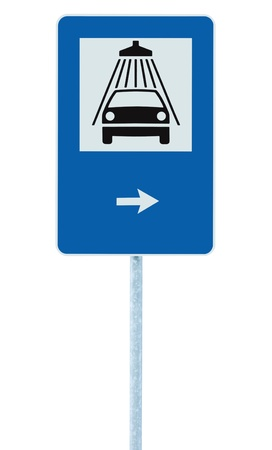 Car wash road sign on post pole, traffic roadsign, blue isolated vehicle shower washing service roadside signage plus right pointing arrow photo