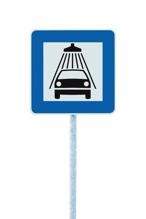 Car wash road sign on post pole, traffic roadsign, blue isolated vehicle shower washing service roadside signage photo