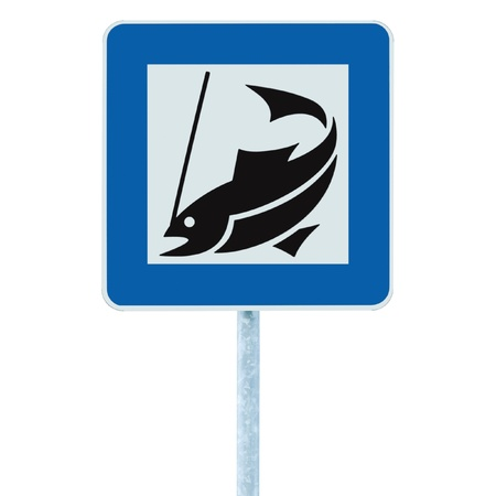 Fish camp sign, isolated roadisde signpost pole post, fishing area place pointer traffic signage in blue white photo