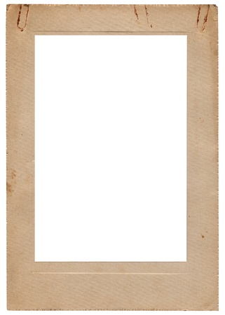 Aged vintage studio portfolio picture photo frame, vertical isolated old retro beige sepia stained album cardboard edge card copy space, rusty paperclip marks, golden section sectio aurea mean proportions Stock Photo - 13832309
