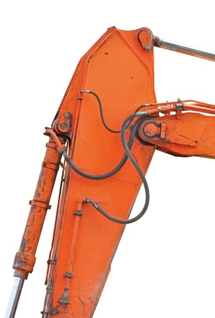 Old Generic Excavator Dipper And Boom Plus Bucket Ram Vertical Closeup, Isolated Orange Yellow Details, Backhoe Dozer Hydraulics Hoses, Links, Pistons, Bolts photo