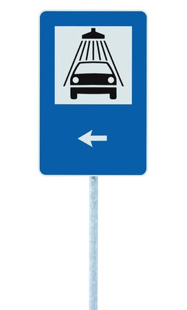Car wash road sign on post pole, traffic roadsign, blue isolated vehicle shower washing service roadside signage plus left pointing arrow photo