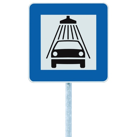 car isolated: Car wash road sign on post pole, traffic roadsign, blue isolated vehicle shower washing service roadside signage