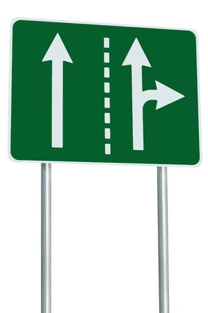 Appropriate traffic lanes at crossroads junction, right turn exit ahead, isolated green road sign, white arrows, EU european roadside signage, abstract alternative route choice metaphor Stock Photo - 14207032