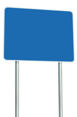 Blank Blue Road Sign Isolated, Large Perspective Copy Space, White Frame Roadside Signpost Signboard Pole Post Empty Traffic Signage Stock Photo - 14207037