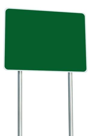 Blank grünen Schild Isoliert, Groß Perspective Textfreiraum, White Frame Roadside Signpost Signboard pole post Leere Verkehrsbeschilderung