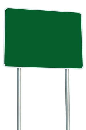 Blank Green Road Sign Isolated, Large Perspective Copy Space, White Frame Roadside Signpost Signboard Pole Post Empty Traffic Signage Stock Photo - 14207038