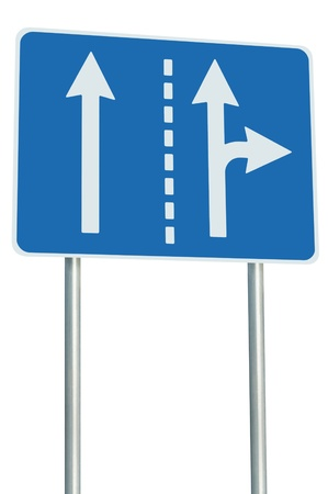 motorway: Appropriate traffic lanes at crossroads junction, right turn exit ahead, isolated blue road sign, white arrows, EU european roadside signage, abstract alternative route choice metaphor Stock Photo