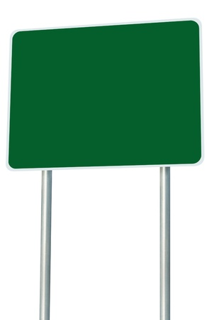 adboard: Blank Green Road Sign Isolated Stock Photo
