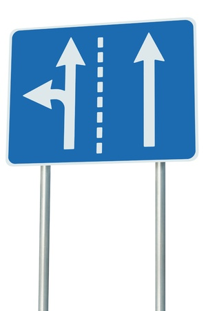 Appropriate traffic lanes at crossroads junction, left turn exit ahead photo