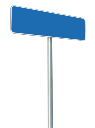 Blank Blue Road Sign Isolated, Large White Frame Framed Roadside Signboard Perspective Copy Space Stock Photo - 14568724