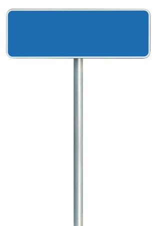 road sign highway sign: Blank Blue Road Sign Isolated, Large White Frame Framed Roadside Signboard Copy Space Stock Photo