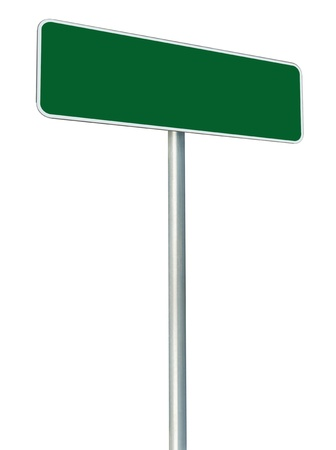 Blank Green Road Sign Isolated, Large White Frame Framed Roadside Signboard Perspective Copy Space Stock Photo - 14568720