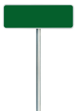 road sign highway sign: Blank Green Road Sign Isolated, Large White Frame Framed Roadside Signboard Copy Space Stock Photo