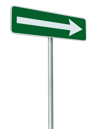 indicating: Right traffic route only direction sign turn pointer, green isolated roadside signage perspective, white arrow icon and frame roadsign, grey pole post Stock Photo