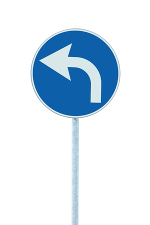 turn sign: Turn left ahead sign, blue round isolated roadside traffic signage, white arrow icon and frame roadsign, grey pole post