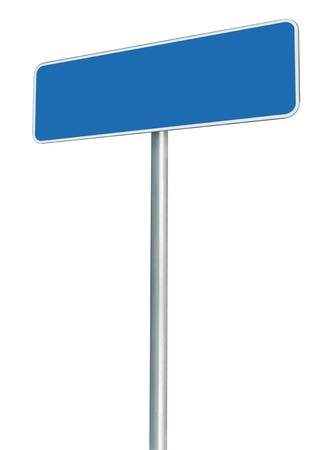 Blank Blue Road Sign Isolated, Large White Frame Framed Roadside Signboard Perspective Copy Space Stock Photo - 14691626
