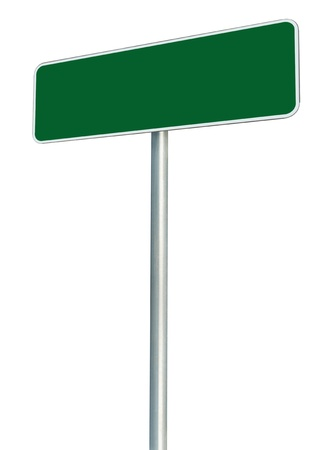 Blank Green Road Sign Isolated, Large White Frame Framed Roadside Signboard Perspective Copy Space Stock Photo - 14691636