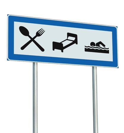 parking sign: Parking Lot Road Sign Isolated, Restaurant, Hotel Motel, Swimming Pool Icons, Roadside Signage Pole Post, Blue, Black White Accommodation Resort Pointer Signpost Signboard