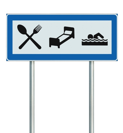 Parking Lot Road Sign Isolated, Restaurant, Hotel Motel, Swimming Pool Icons, Roadside Signage Pole Post, Blue, Black White Accommodation Resort Pointer Signpost Signboard photo