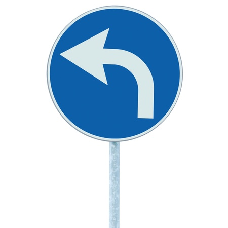 Turn left ahead sign, blue round isolated roadside traffic signage, white arrow icon and frame roadsign, grey pole post