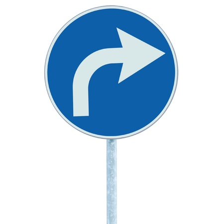 turn sign: Turn right ahead sign, blue round isolated roadside traffic signage, white arrow icon and frame roadsign, grey pole post Stock Photo