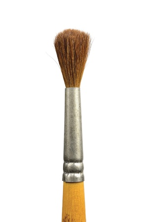 Paintbrush, isolated old used paint brush natural hair bristle macro closeup, vertical photo
