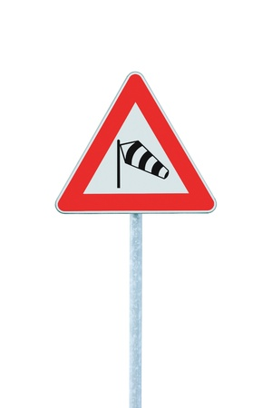 strong wind: Sudden side cross winds likely ahead road sign, isolated traffic warning flying sock crosswinds sidewind signage, hazard danger windsock icon red frame triangle roadsign pole post signpost Stock Photo