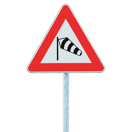 Sudden side cross winds likely ahead road sign, isolated traffic warning flying sock crosswinds sidewind signage