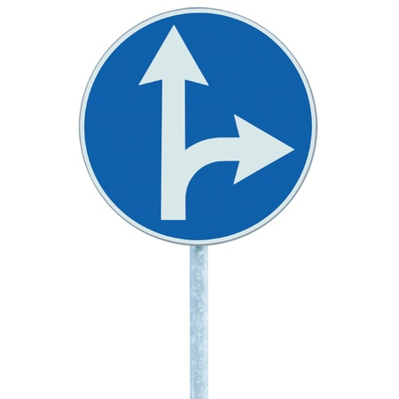 Mandatory straight or right turn ahead, traffic lane route direction sign pointer road sign, choice concept, blue isolated roadside signage, white arrow icon and frame roadsign, grey pole post photo