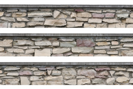 Stone fence panorama, panoramic stonewall, isolated limestone dolomite calcium carbonate hard sedimentary slate slab rock texture, seamless stickable lined textured natural narrow brick wall, beige, grey, yellow, reddish, gray, red photo