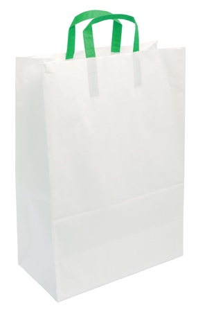 commercial recycling: White Paper Bag, Green Handles, Isolated Closeup Copy Space Shopping Concept, Textured Blank Empty Texture Background