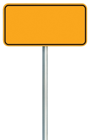 adboard: Blank Yellow Road Sign Isolated, Large Warning Copy Space, Black Frame Roadside Signpost Signboard Pole Post Empty Traffic Signage