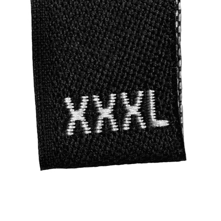 xxxl: XXXL size clothing label tag, black fabric, isolated on white, detailed macro closeup