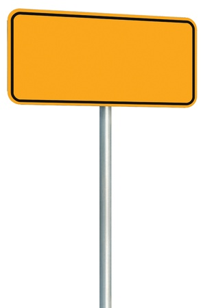 adboard: Blank Yellow Road Sign Isolated, Large Perspective Warning Copy Space, Black Frame Roadside Signpost Signboard Pole Post Empty Traffic Signage
