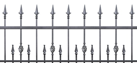 old fence: Forged decorative fence isolated horizontal panorama, large panoramic silhouette, wrought iron fleur-de-lis lattice Stock Photo